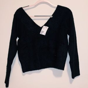 H and M Fuzzy Black Sweater- NWT